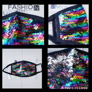 Elegant Sequenced Fashion Face Mask Rainbow Classy